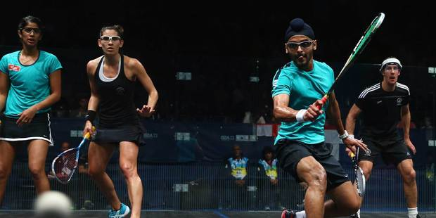 New Zealand's Joelle King and Martin Knight in action in an earlier match against India during the Commonwealth Games in Glasgow. Photo / Getty Images