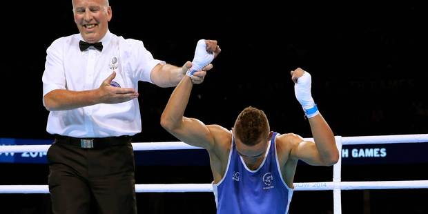 New Zealand boxer David Nyika reacts after winning the men's 81kg final. Photo / Getty Images