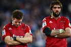 Richie McCaw, left, and Samuel Whitelock, right, of the Crusaders look dejected after the Super Rugby Grand Final match between the Waratahs and the Crusaders. Photo / Getty Images