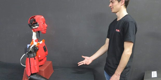 InMoov is a life-sized humanoid robot whose parts can be 3D-printed.
