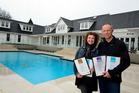 House of the year winners Helen and Paul Riordan at the $2 million mansion, built by Riordan Construction Ltd. Photo / George Novak