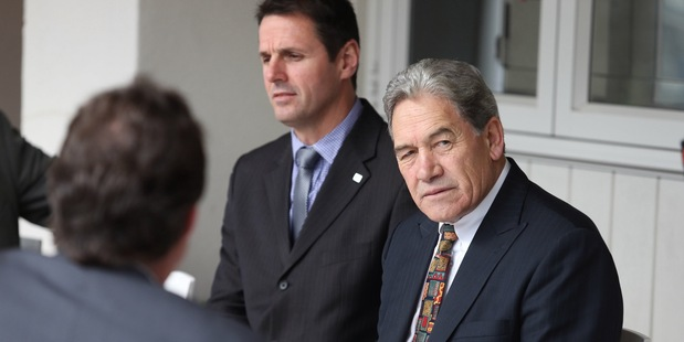 NZ First leader Winston Peters met with Tauranga city councillors yesterday, including Clayton Mitchell, left, who is NZ First's Tauranga candidate. Photo / John Borren