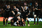 Tony Woodcock of the All Blacks charges forward during the International Test match between the New Zealand All Blacks and England at Waikato Stadium. Photo / Getty Images