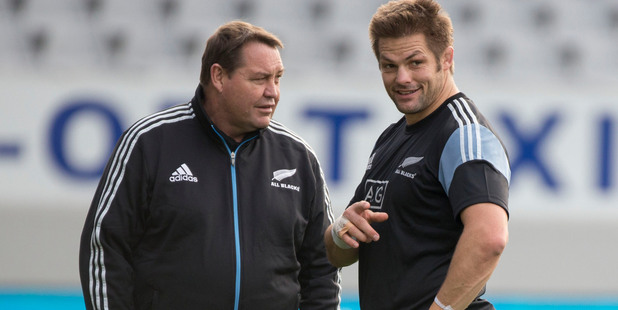 All Black coach Steve Hansen and captain Richie McCaw. Photo / Peter Meecham