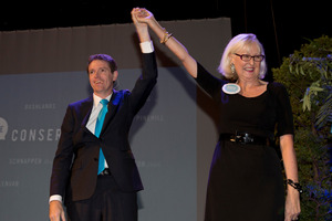The Conservative Party leader Colin Craig with CEO Christine Rankin at the launch of the Conservative Party 2014 election campaign. Photo / Brett Phibbs
