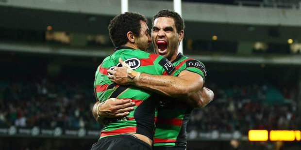 Alex Johnston, left, and Greg Inglis of the Rabbitohs celebrate during the NRL match between the South Sydney Rabbitohs and the Manly Sea Eagles in Sydney. Photo / Getty Images