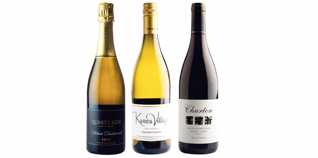 Quartz Reef Central Otago Methode Traditionnelle Brut NV; Kumeu Village Chardonnay 2011; Churton Marlborough Pinot Noir 2011.