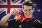 New Zealand cyclist Sam Webster won two gold medals and one silver in the velodrome. Photo / Greg Bowker