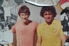 John Gillies, then 20, and Kevin Fallon, 30, rest during a training session for centrebacks in 1979.