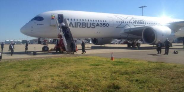 Airbus' new A350XWB on the tarmac at Sydney preparing to depart for Auckland. Photo / Grant Bradley