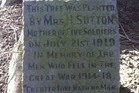Sutton family descendants visit the memorial stone each Anzac Day.