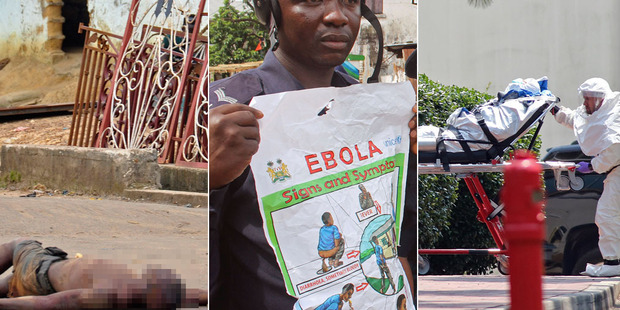 From left, a man lies where he fell in a Monrovia street, a policeman educates people about Ebola and US health worker Nancy Writebol arrives at a US facility. Photo / AP