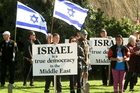 A rally also gathered on Campbell St, Havelock North, in support of the Israeli ambassador yesterday.
