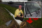 Silvio Kors feels he was lucky to escape harm when the lamp-post crashed on to his ute. Photo / Christine Cornege