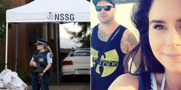 Loading Left; A police officer guards the scene of the attack. Right, Millie and Connor Morris. Photo / NZ Herald, Facebook