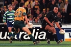 Jonah Lomu finishes the job for the All Blacks with a late try in July 2000 in Sydney. Photo / Getty Images