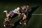 The Warriors seem to be peaking at the right time, getting the job done in two 'must win' games during the past fortnight. Here, Ngani Laumape makes a break against the Raiders. Photo / Getty Images