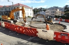 Work has begun on the second Marine Parade roundabout, at the Browning St intersection. Photo / Duncan Brown