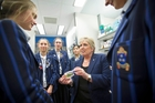 Professor Margaret Brimble chats to a group of  Year 11 girls from Diocesan School at yesterday's inaugural For Girls in Science forum in Auckland. Photo / Chris Loufte