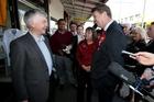 Labour leader David Cunliffe talks with Onehunga local Robert Reid, left, yesterday. Photo / Jason Oxenham