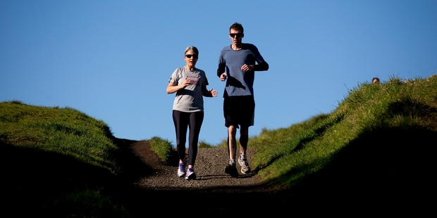 Laila Harre and writer Lane Nichols take to the slopes of Mt Eden. Picture / Dean Purcell