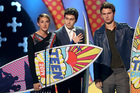 Shailene Woodley, Nat Wolff and Ansel Elgort accept the award for choice movie: drama The Fault In Our Stars at the Teen Choice Awards. Photo/AP