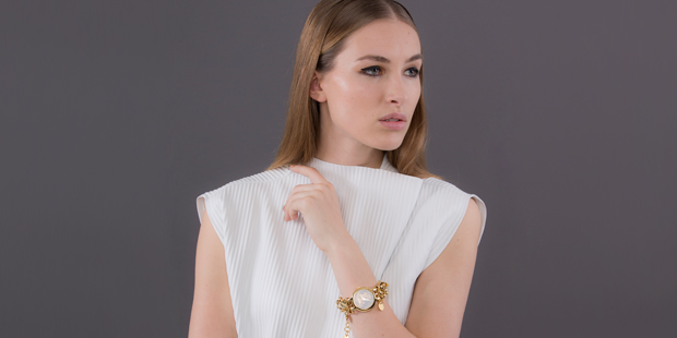 Top by Maurie & Eve, $185. Versus watch, $559, from Walker & Hall. Photo / Greg Bowker