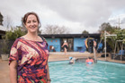 Aquatic personal trainer Nicky Tonkin  teaches  aqua  aerobics from a pool outside her home in Drury. Photo / Ted Baghurst