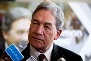 Winston Peters at the New Zealand First campaign in Kelston. Photo / Dean Purcell.