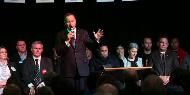 Prime Minister John Key speaks at an event at the Kumeu Baptist Church. Photo / Chris Loufte
