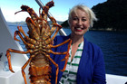 Television host Yvonne Lorkin with a good-sized crayfish.