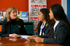 Auckland Girls Grammar career advisor Maggie Hames (left) in discussion with Year 12 students Elizabeth Taka and Lucinda Maasi (right). Photo / Jason Oxenham.