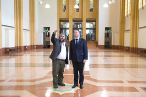 Sir Peter Jackson and Prime Minister John Key in the Dominion Museum Building where the WW1 Commemorative Exhibition is to be installed at Massey University. Photo / Mark Mitchell