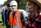 Beca staff got the chance to put a pie in the face of their bosses yesterday. Photo / Ruth Keber