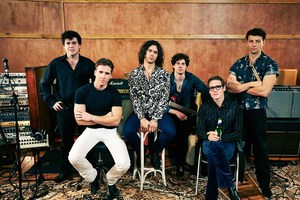 The cast of INXS: Never Tear Us Apart pose as the Aussie chart toppers.