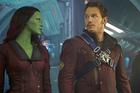 Chris Pratt, right  plays Peter Quill, with Zoe  Saldana (Gamora). Photo / Supplied