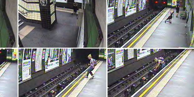 In this combination image taken from video, a child in a buggy is blown on to subway tracks at Goodge Street Station. Photo / AP