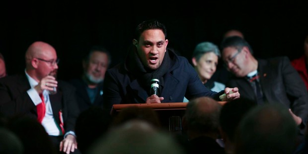 The surprise hit was the Maori Party candidate, Te Hira Paenga, whose speech got the biggest cheer of the night. Photo / Chris Loufte
