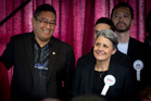 Mana Party leader and MP Hone Harawira, left, and Laila Harre, leader of the Internet Party. Photo / Sarah Ivey