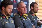 Wallabies coach Ewen McKenzie, middle, opted for Sam Carter to partner lineout chief Rob Simmons in the second row. Photo / Mark Mitchell