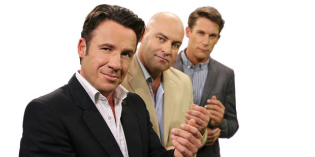 Jason Hoyte, Leigh Hart and Jeremy Wells in 'The Late Night Big Breakfast'.