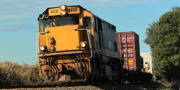 Loading Freight train from Napier on the track near Clive. Photo / Warren Buckland