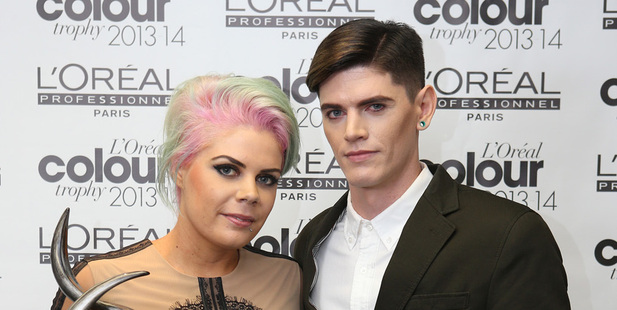 Sara Carswell, left, is the winner of the Men's Image Award at the L'Oreal Colour Trophy awards. Photo / Fiona Goodall