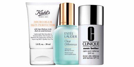 Kiehl's Micro-Blur Skin Perfector; Estee Lauder Clear Difference Advanced Blemish Serum; Clinique Even Better Dark Spot Defense SPF45.