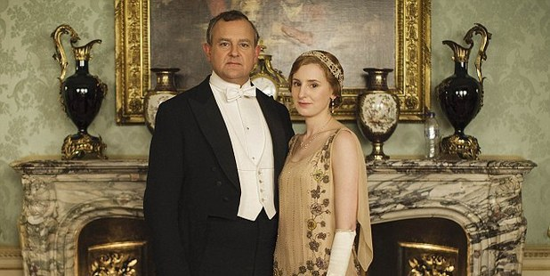 A plastic bottle can clearly be seen sitting on the mantlepiece in this promotional shot for Downton Abbey.
