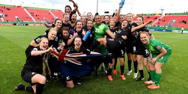 The under-20 women's side are over the moon as they celebrate their win but they know there is no relaxing as they face Nigeria on Monday. Picture / Getty Images