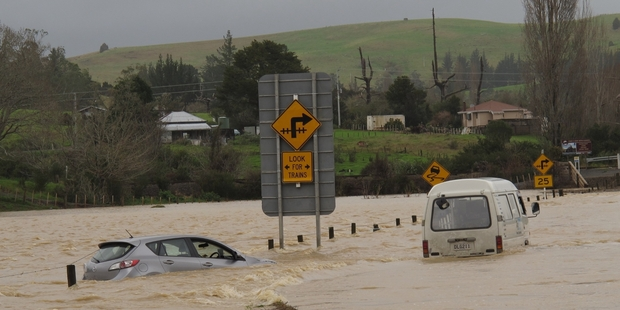 State Highway 11, between Paihia and Kawakawa, was flooded in last month's storm. Photo / Peter de Graaf