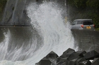 Waves whipped up by the typhoon in Kushimoto. Photo / AP