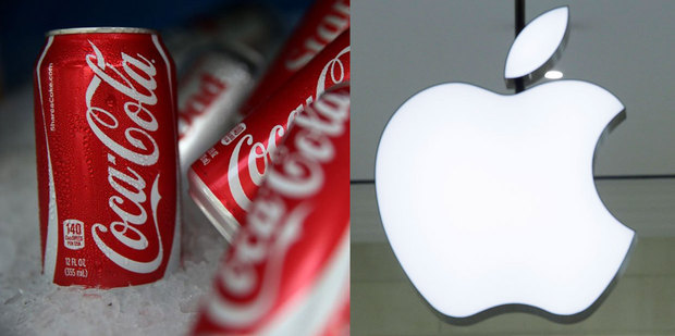 Coca Cola and Apple are in the top 1 per cent of companies in the US. Photo / AP, AFP