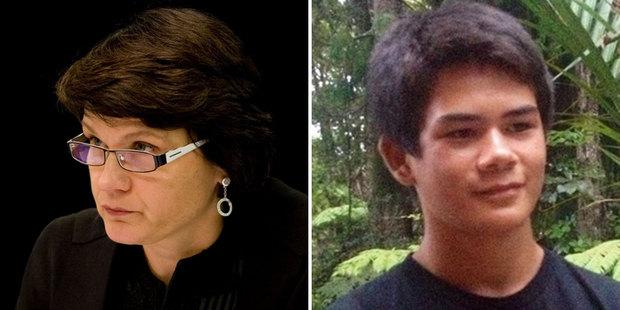 Chief High Court Judge Helen Winkelmann and deceased Auckland school boy Stephen Dudley.